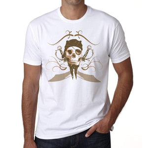 Original Pirate Skull Mens White Tee 100% Cotton 00187