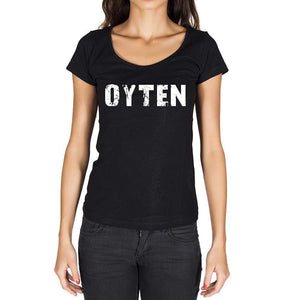 Oyten German Cities Black Womens Short Sleeve Round Neck T-Shirt 00002 - Casual