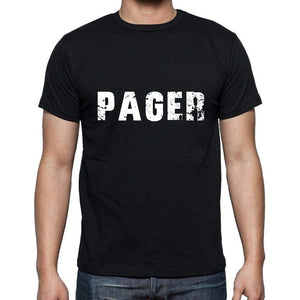 Pager Mens Short Sleeve Round Neck T-Shirt 5 Letters Black Word 00006 - Casual