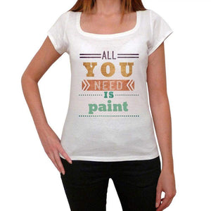 Paint Womens Short Sleeve Round Neck T-Shirt 00024 - Casual