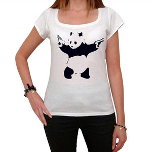 Panda Shooting Tshirt White Womens T-Shirt 00163