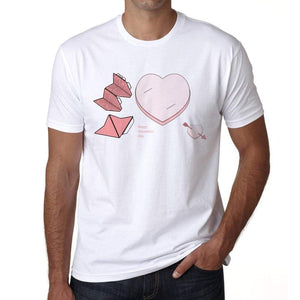 Pencil Pals Valentine Pink Mens Tee White 100% Cotton 00156