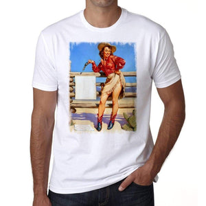 Pin-Up Cowgirl 2 Mens White Tee 100% Cotton 00211