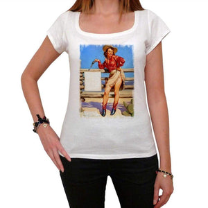 Pin-Up Cowgirl 2 White Womens T-Shirt 100% Cotton 00212