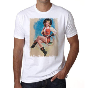 Pin-Up Cowgirl 3 Mens White Tee 100% Cotton 00211