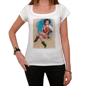Pin-Up Cowgirl 3 White Womens T-Shirt 100% Cotton 00212