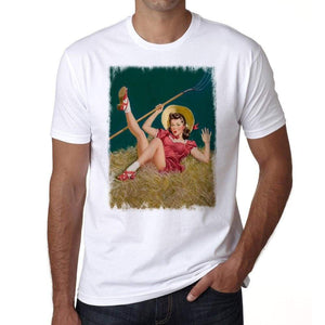 Pin-Up Cowgirl 4 Mens White Tee 100% Cotton 00211
