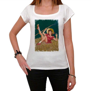 Pin-Up Cowgirl 4 White Womens T-Shirt 100% Cotton 00212