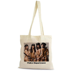 Police Sexy Girls Department Shopping Bag Natural Cotton Gift Beige - Beige - Casual