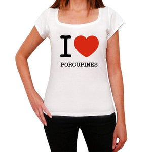 Porcupines Love Animals White Womens Short Sleeve Round Neck T-Shirt 00065 - White / Xs - Casual