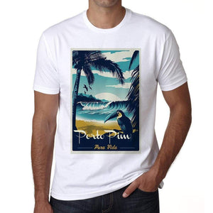 Porto Pim Pura Vida Beach Name White Mens Short Sleeve Round Neck T-Shirt 00292 - White / S - Casual
