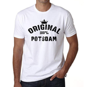 Potsdam 100% German City White Mens Short Sleeve Round Neck T-Shirt 00001 - Casual