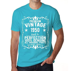 Premium Vintage Year 1950 Blue Mens Short Sleeve Round Neck T-Shirt Gift T-Shirt 00367 - Blue / Xs - Casual
