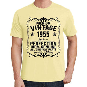 Premium Vintage Year 1955 Yellow Mens Short Sleeve Round Neck T-Shirt Gift T-Shirt 00348 - Yellow / S - Casual