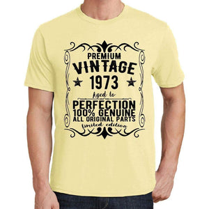 Premium Vintage Year 1973 Yellow Mens Short Sleeve Round Neck T-Shirt Gift T-Shirt 00348 - Yellow / S - Casual