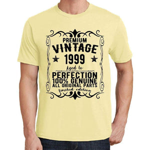 Premium Vintage Year 1999 Yellow Mens Short Sleeve Round Neck T-Shirt Gift T-Shirt 00348 - Yellow / S - Casual