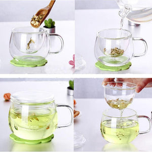 1 Set Coffee Mug Tea Glass Cup Transparent Clear Glass Milk Mug Coffee Tea Mugs With Tea Infuser Filter Lid Water Cup