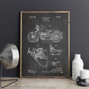 Motorcycle Patent Vintage Blueprint Poster Prints Motorcycle Artwork Science Wall Art Canvas Painting Gift Home Room Decor