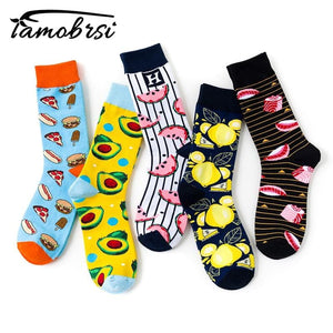 Creative Fruit Food Sushi Avocado Watermelon Lemon Burger Pizza Socks Women Warm Funny Short Winter Cotton Happy Ankle Socks