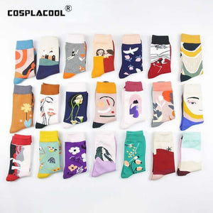 Harajuku Japanese Funny Socks Art Abstract Flowers Bird Pattern Cute Socks Women Happy Creative Divertidos Skarpetki Crew Sokken