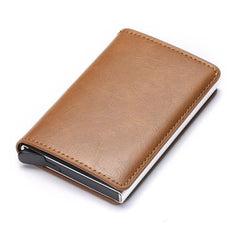 Business ID Credit Card Holder Men and Women Metal RFID Vintage Aluminium Box PU Leather Card Wallet Note Carb-Card Holder-Ultrabasic