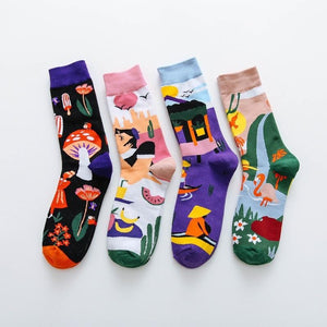 Colorful Cotton Happy Socks Men Women British Style Casual Harajuku Socks Personal Comfortable Socks For <span>Gift</span> Original Trendy