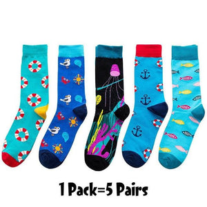 6/5 pairs/pack Korean Fresh Fruits Socks Lemon Pineapple Orange Watermelon Strawberry Fish Jellyfish swim ring Ship anchor socks