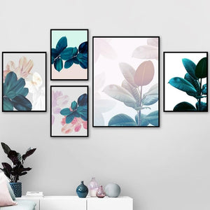Abstract Wall Art Canvas Painting Modern Home Decor, Leaves Watercolour Nordic Posters Print Botanical Pictures for Living Room
