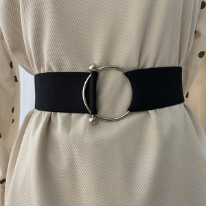 Belts for Women Black Simple Waist Elastic Ladies Band Round Buckle Decoration Coat Sweater Fashion Dress Rice White-Belt-Ultrabasic