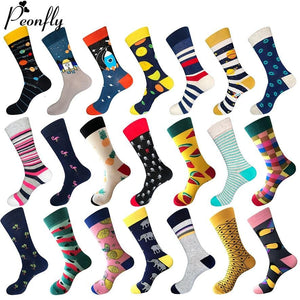 PEONFLY 80% Cotton Men's Socks Harajuku Colorful Cartoon Funny Kawaii Flamingo Space Lemon Happy Socks For Christmas <span>Gift</span>