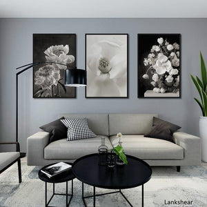 European Black And White Flowers Decorative Paintings Canvas Posters and Prints Wall Art Picture For Living Room Home Decoration