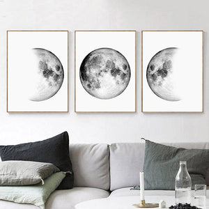 Minimalist Canvas Paintings Moon Phases Wall Art Black Posters and White Prints Earth Pictures for Bedroom Living Room Decor