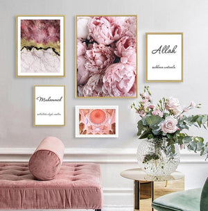 Modern Islamic Allah Muhammed Pink Peony Marble Canvas Paintings Muslim Poster Print Wall Art Picture for Living Room Decoration