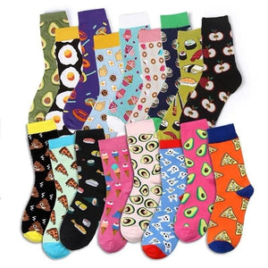 Novelty Women Socks Funny Cute Cartoon Fruits Banana Avocado Lemon Egg Donuts Food Happy Japanese Harajuku Skateboard Socks