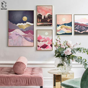 Japanese Cherry Blossom Tones Landscape Posters Pink Sunrise Mountain Wall Art Print Pictures for Girls Room Decoration Maison