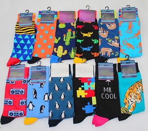 New Men's sock Brand Cactus Panda Monkey Pattern Hip hop Cool Socks for Men Winter Thick Long Skate Funny Socks Colorful EUR40-47