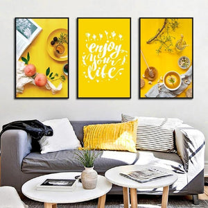 Nordic Quotes Art Enjoy Your Life Kitchen Room Decor Peach Food Tea Canvas Paintings Home Decoration Wall Picture Print Poster