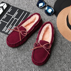 2020 Shoes Women Winter Warm 100% Genuine Leather Flat Shoes Casual Loafers Slip on Women's Flats Plush Shoes Moccasins Lady