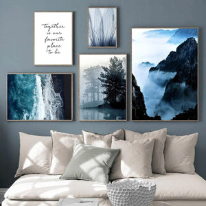 Mountain Wall Art Canvas Painting Poster Landscape Blue Beach Canvas Pictures For Living Room Painting Live Paintings Decor Home