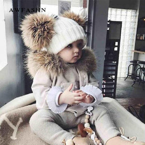 Winter Baby Knit Beanie Hat Crochet Double Natural Raccoon Pompom Hat Girls/Boys Soft Cap Real Fur Child Caps Fashion Kids Warm