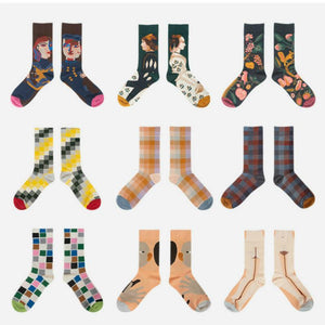 New Women Socks Funny Cute Cartoon Happy Japanese Harajuku skateboard Socks Creative Colored Cotton Couple Socks Mid Tube Socks