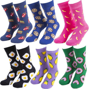 Funny Cute Cartoon socks Fruits Banana Avocado Lemon Egg Cookie Donuts fries Food colorful novelty skateboard Socks