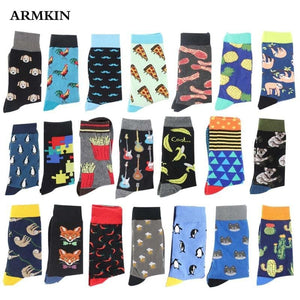 ARMKIN Hip Hop Cool Animal Food happy Funny Socks Men Harajuku Skateboard Crew sock Male Vintage Large High sock for christmas