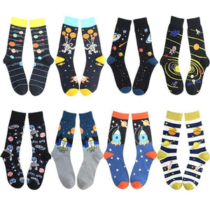 2020 new spring cotton men's space socks Korean women's summer fashion astronaut planet socks universe novelty short funny socks
