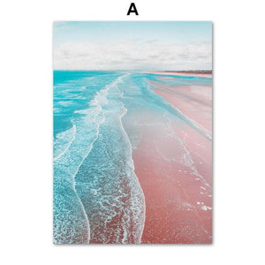 Gohipang Pink Beach Sea House Door Cake Landscape Wall Art Canvas Painting Nordic Posters And Prints Wall Pictures Living Room