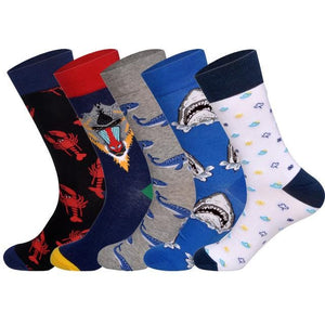 LIONZONE 5Pairs/lot Brand Men Socks 60 Colors 12 Selects British Style StreetWear Designer Happy Socks Funny with <span>Gift</span> Box