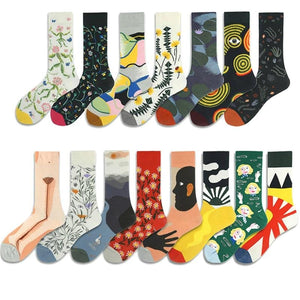 Combed Cotton Women's Socks Harajuku Colorful Cartoon Cute Funny Kawaii Abstract Pattern Socks For Female Christmas Gift