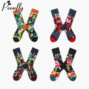 Harajuku Style Women's Socks Combed Cotton Cartoon Illustration Pattern Cute Funny Happy Kawaii Socks For Christmas Gift
