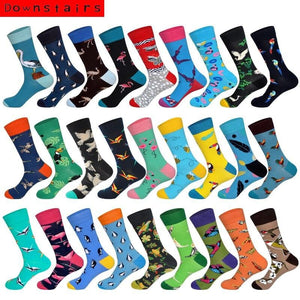 Downstairs Brand Desgin Happy Socks for Men's <span>Gift</span>s 28 Colors Birds Flamingos Penguins Streetwear Dress Up Long Casual Calcetines