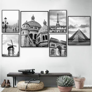 Paris Print France City Landscape Photography Poster Black and White Wall Pictures Canvas Painting Home Wall Art Decor
